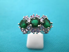 Splendid Silver Natural  Green And White Topaz Ring Size P 3/4, US 8  (rg1967)