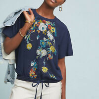 Anthropologie Tiny Carly Floral Drawstring Top Size Small Women Short Sleeves
