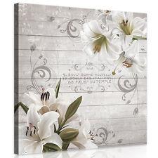 CANVAS Wandbild Leinwandbild Bild Weiss Blumen Lilie Bretter Holz  3FX10050O2