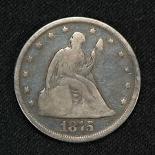 1875 20c SEATED LIBERTY TWENTY-CENT PIECE, VG+ COIN *RARE P-MINT KEY DATE #V038