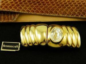 Vintage 1980s Accessocraft NY Designer Chunky Gold Rhinestone 2 pc Belt Buckle