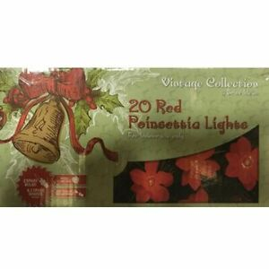 VINTAGE COLLECTION LIGHTING 20 RED POINSETTIA LIGHTS BRITE IDEAS