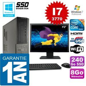 """PC DELL 3010 DT Core I7-3770 Ram 8Go Disque 240 Go SSD Wifi W7 Ecran 19"""""""