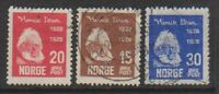 Norway - 1928, Ibsen Centenary short set - G/U - SG 201/3