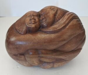Vintage Hawaiian Monkey Pod Wood Sculpture Embracing Couple Hand Carved