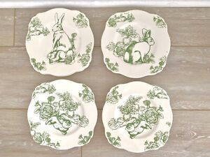 Bunny Toile (J Willfred) Square Porcelain Luncheon Plates (Set Of 4)