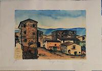 SALVATORE MAGAZZINI acquaforte I edizione 1980 Paesaggio Toscano 50x35 firmata