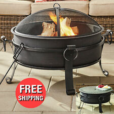 New listing 30-inch Round Metal Outdoor Fire Pit Fireplace Patio Deck Wood Burning Table