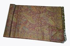Cashmere Wool Bedspread Paisley Woven Warm Throw ~ Queen Size