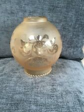 Vintage Globe Etched Glass Lamp Light Shade large size
