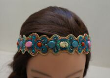 Western Oriental style BLUE Pink Turquoise Beads Embroidered Headband DD4D-1/22