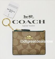 NWT COACH MINI ID SKINNY WITH KHAKI SIGNATURE DARK TURQUOISE F16107