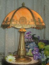 ANTIQUE MILLER SLAG GLASS 6 PANEL ELECTRIC TABLE LAMP SIGNED MILLER