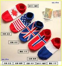 Ladies cotton knit short socks with flag pattern國旗船襪 全棉女裝襪 純棉 短襪 短筒襪