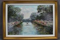 R Phillipson Signed Acrylic Painting on Canvas Impressionist Bridge Lake