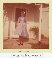 Vintage FOUND PHOTO Original COLOR Dressed Up In LAVENDER Free Shipping D 7516