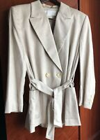 Escada Women's Blazer Jacket Belted Cashmere and Silk Size 12 Made in Germany