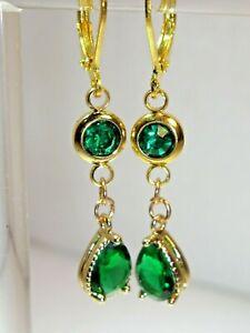 EMERALD GREEN GEM SET TEARDROP EARRINGS WITH GOLD PLATED FITTINGS