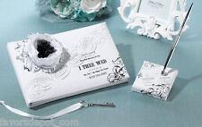 True Love Guest Book and Pen Set Black & White Design Wedding Guest Book