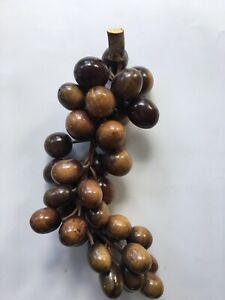 """Vintage Large Bunch Wooden Grapes 11"""" Prop Display Collectible"""