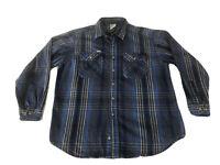 VTG USA MADE Carhartt Thick Flannel Work shirt Blue Plaid 1990s Size Mens XL EUC