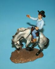 Hagen Renaker Horse Cowboy Bucking Bronco Figurine With Rider Rodeo Blue Shirt