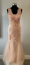 Mascara Peach Long Prom/eve Gown Uk Size 8