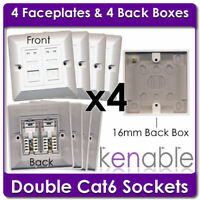 4 x Double Socket RJ45 Cat6 Face Plates & Back Boxes