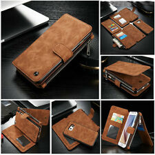 Genuine Removable Leather Purse Wallet Card Case Magnetic For Samsung S6 S7 S8