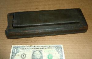 Vintage Fine Oil stone,Knife,Razor Sharpener,Hone,Old Sharpening Tool,Wood Box