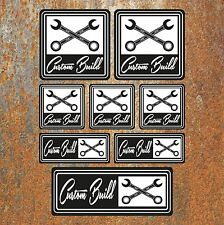 CUSTOM BUILD STICKER SET Car Motorbike Hot Rod Cafe Racer Decal BW