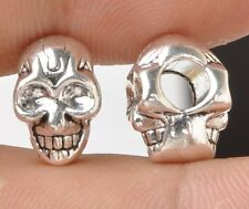 15pcs Tibetan Silver Skull Double sided big hole bead Spacer Beads 12mm A3366