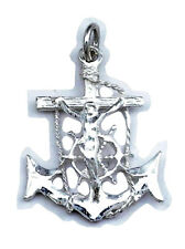 Jesus Crucifix Anchor Medium Charm Sterling Silver 925 Religious Pendant Gift