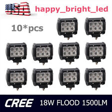 10PCS 4INCH 18W CREE LED WORK LIGHT BAR FLOOD DRIVING LAMP TRUCK SUV PODS BOAT