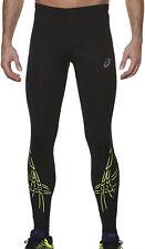 Asics Tiger Stripe Mens Long Compression Running Training Sports Tights - Black