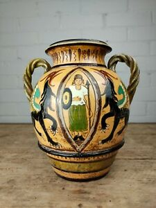 A Twin Handled Continental Art Pottery Vase