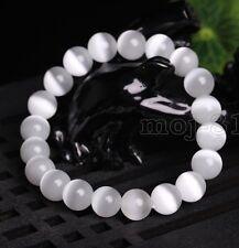 Gemstone Beads Women Jewelry Bracelet Bangle 10Mm Natural White Cat Eye Stone