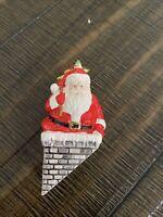 "Dept 56 Snow Village ""DOWN THE CHIMNEY HE GOES!"" Santa Claus Figurine"