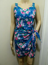 Royal Creations vtg Turquoise pink Rose sweetheart Mini WRAP HAWAIIAN SUNDRESS M