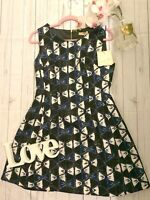 Double 11 L 12 14 navy bow patterned shift party tea occasion dress NEW formal