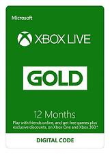 Microsoft xbox live prépayée 12 mois gold membership same day dispatch