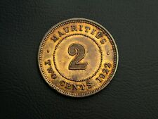 2 Cents 1922 Mauritius King George V. Beautiful coin with Coloured Patina