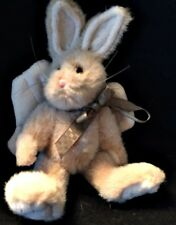 BOYDS BEARS PLUSH CHRISTMAS TREE ORNAMENT / ANGEL BUNNY With GREEN RIBBON