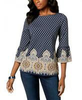 NWT Charter Club Printed Flutter-Sleeve Top Blouse. 100024925MS