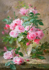 Botanical Rose Roses Pink Painting Flowers Shabby Chic Provincial Canvas Print