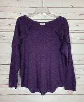 Umgee Boutique Women's S Small Purple Ruffle Long Sleeve Cute Spring Sweater Top