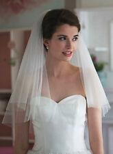 Voile court tulle double couche avec peigne pour robe mariée blanc pur réf V12