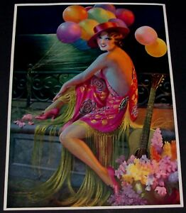 GENE PRESSLER VINTAGE 1930'S ART DECO PRINT OF WOMAN WEARING SHAWL WITH BALLOONS