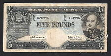 New listing R-50F. (1960) 5 Pounds - Coombs/Wilson. 1st Prefix Tb/41. Reserve Bank. Fine