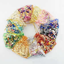 50Pcs Rose Flower Printed Organza Wedding Candy Favor Gift Packaging Bags